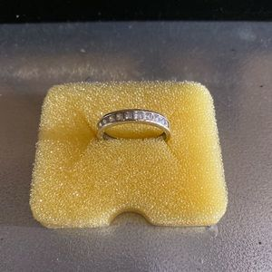 10kt White Gold 3ct square Cz Diamond Band
